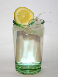 glass water with lemon